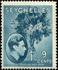Seychelles SC# 131a Coco-de-Mere Palm 9c  Chalky Paper MH