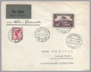 LUXEMBOURG - GERMANY 1931 Early Two Country Franking - Air Lux - Koln - Hannover