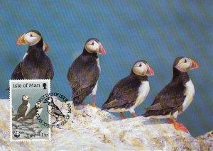 Isle of Man 1989 Maxicard Sc #399 13p Puffins WWF