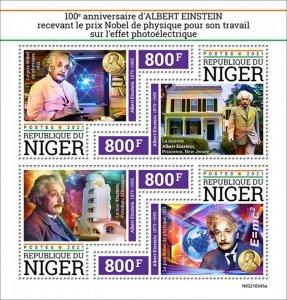 NIGER - 2021 - Einstein Wins Nobel Prize - Perf 4v Sheet - Mint Never Hinged