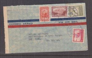 ECUADOR, c1942 Censored Airmail cover, Manta to USA, 5c., 30c., 1s. & 2s.