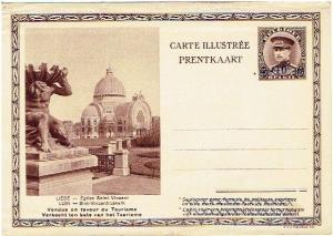 MINT-TOURISM1932 OVERPRINT semi-postal 25c/40c Postcard King Albert I of Belgium
