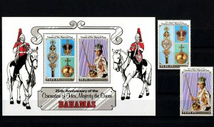BAHAMAS - 1978 - QE II - CORONATION - 25th ANNIVERSARY - MINT MNH SET + S/SHEET!