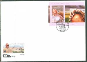 GUINEA 2013 ELECTION OF POPE FRANCIS  SOUVENIR SHEET FDC