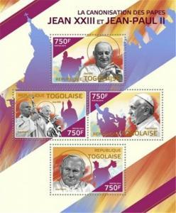 Togo - 2014 Popes John XIII & John Paul II - 4 Stamp Sheet - 20H-1027
