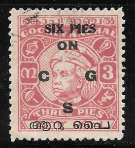 India Travancore-Cochin O8: 6p on 3p Maharaja Sri Kerala Varma, used, F