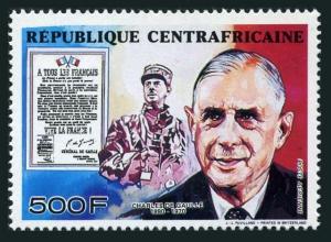 Central Africa C348,MNH. President Charles de Gaulle,1990.