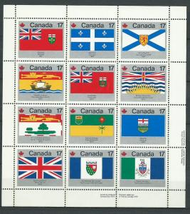 Canada SG 944ab MUH sheetlet 9 stamps have small remnants...