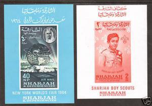 Sharjah Mi Bl 8,9 MNH 1964 Worlds Fair & Boy Scouts