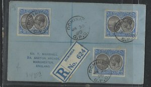 DOMINICA  COVER (P1902B)  1929  KGV 2 1/2DX3    BOAT ON  REG  COVER TO ENGLAND