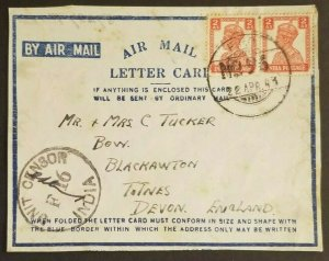 1943 Ranchi India to Devon England WWII Air Mail Letter Card Censorship Cover