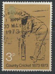 GB  SC# 694 County Cricket  1973 SG 928 Used as per scan