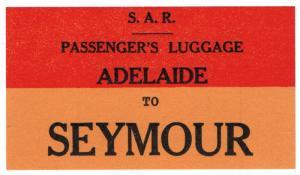 (I.B) Australia - South Australia Railways : Luggage Label (Seymour)