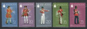 Antigua 1973 Military Uniforms Scott # 307 - 311 MNH
