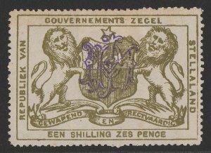 BECHUANALAND Stellaland 1886 Arms Revenue 1/6 olive-green, monogram h/s.