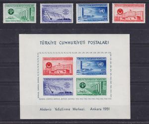 Turkey Sc 1051-1054a MNH. 1951 Ankara Buildings + Scarce Souvenir Sheet