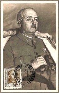 90072 - SPAIN - Postal History - MAXIMUM CARD - FRANCO CAUDILLO Politics 1942