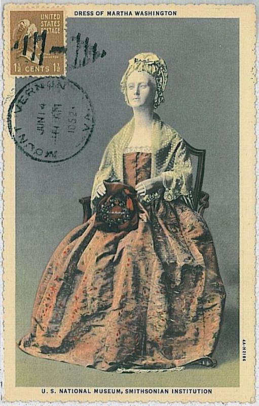 37243    MAXIMUM CARD - USA : MARTHA WASHINGTON 1952
