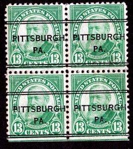 US Scott # 622 Benjamin 1925, 13c Block of 4 Pittsburgh, PA. Precancel