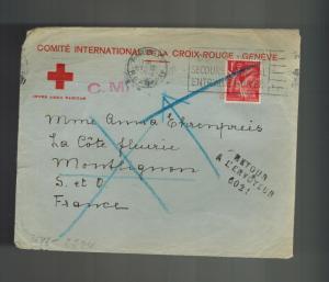 1941 PAris France Red Cross Censored Occupation Cover Returned to Sender