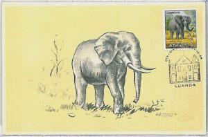MAXIMUM CARD - POSTAL HISTORY - Angola: Elephants, Wild animals, 1958