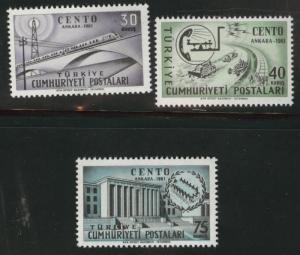 TURKEY Scott 1509-1511 MNH** 1961 CENTO set