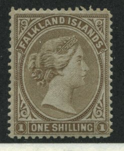 Falkland Islands QV 1885 1/ bister brown mint o.g. hinged