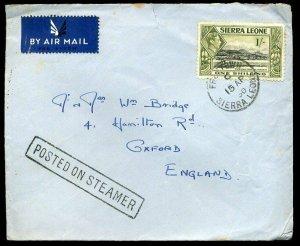 Sierra Leone 1950 KGVI SG196 1/ on Cover Posted On Steamer