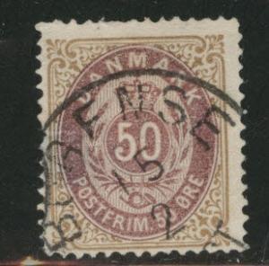 DENMARK  Scott 33 used 1875 stamp CV$37.50 hinge thin