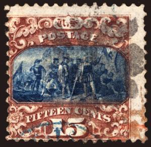 #119 15c Brown & Blue type II w/Blue & Magenta Cancels
