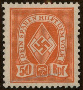 3rd Reich Germany Hitler Jugend Youth Savings Stamp MH 96198