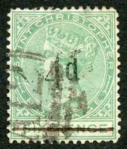 St Christopher SG25a 4d on 6d green No Stop after D (tear at left) Cat 325 pound