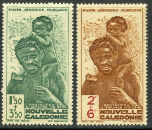 NEW CALEDONIA 1942 NATIVE CHILDRENS FUND Airmail Semi Postal Set Sc CB2-CB3 MNH