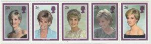 GB 1998 Diana Princess of Wales Commemoration strip of 5V MNH SG#2021-2025 S1134
