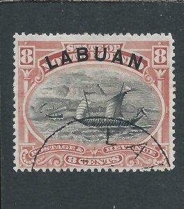 LABUAN 1894-96 8c ROSE-RED FU SG 68 CAT £45