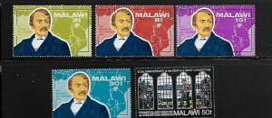 MALAWI, 204-208, MINT HINGED, DR. DAVID LIVINGSTON