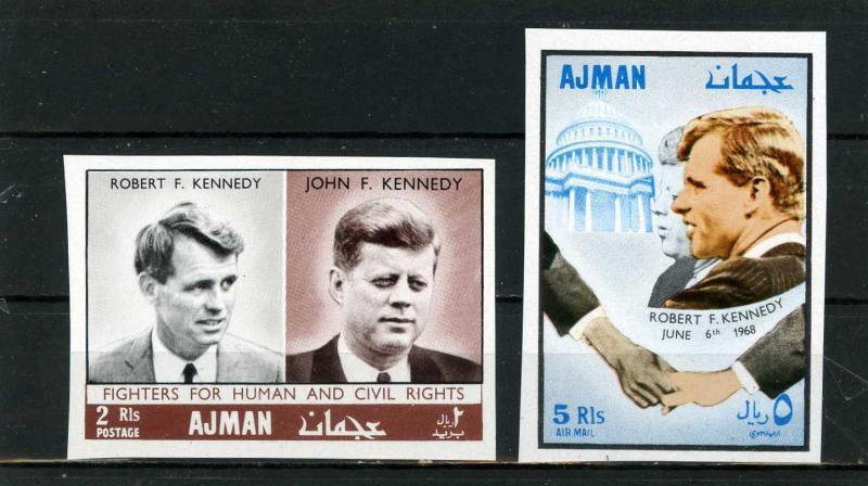 AJMAN 1968 Mi#299-300B FAMOUS PEOPLE/JOHN & ROBERT KENNEDY SET OF 2 STAMPS MNH