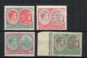 St Kitts-Nevis 1938-50 2d, 3d 6d and 1s MVLH