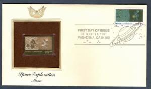 2571 Space Exploration: Moon  22kt FDC Gold Replica