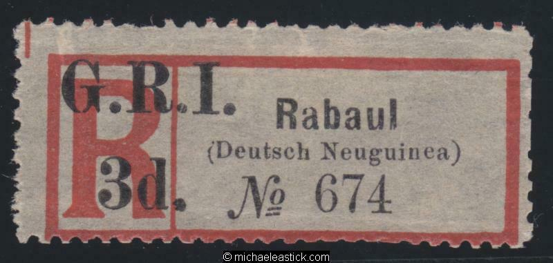 1915 New Guinea Registration Label surcharged GRI 3d for Rabaul, SG 33 MH