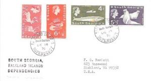 Falkland Islands South Georgia.  Nice set on envelope. Elk, Ducks, Seals, Whale