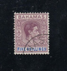 BAHAMAS SG 155d VF-KGV1 5sh FROM THE HILLSON COLLECTION CAT VALUE £15 or $19