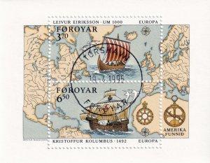 Faroe Islands - 1992,  Europa Columbus used sheet  # 238