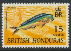British Honduras SG 262 SC # 220 MLH  Wildlife  Dolphinfish 1968  see scans