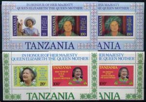 Tanzania 1985 Queen Mother set in 2 m/sheets (SG MS 429) ...