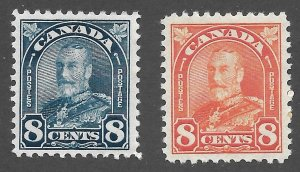 Doyle's_Stamps: Matched MH 1930 Canadian KGV 8c Stamps, Scott #171* & #172*