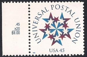 #3332 45 cent Universal Postal Union, Stamp, Mint OG NH XF