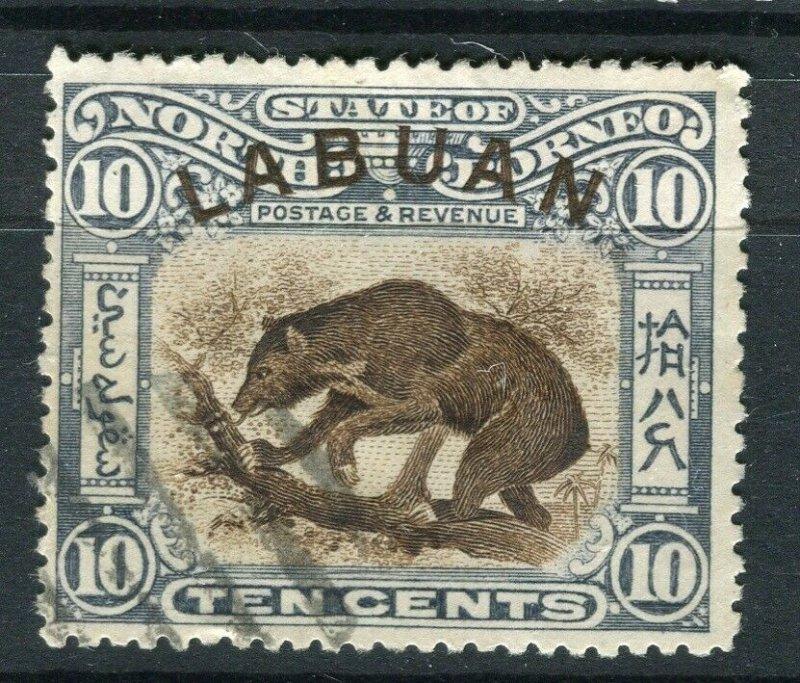 NORTH BORNEO LABUAN; 1890s classic Pictorial issue fine used 10c. value