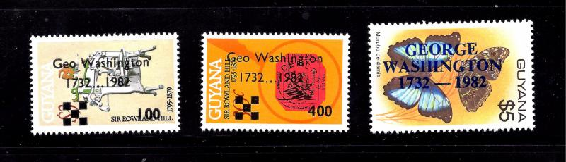 Guyana Scott #479-481, Unused, never hinged