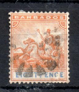 Barbados 1892 QV 8d orange SG#112 fine used WS13509